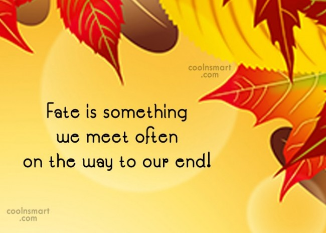 Fate Quote: Fate is something we meet often on...
