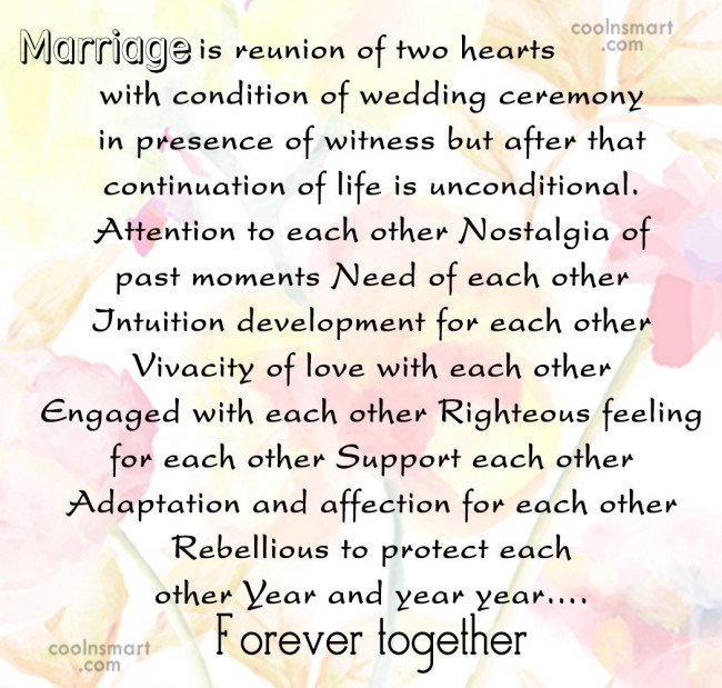 Anniversary Quote: Marriage is reunion of two hearts with...