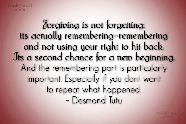 Forgiveness Quote: Forgiving is not forgetting; its actually remembering–remembering...