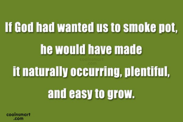 Drugs Quote: If God had wanted us to smoke...