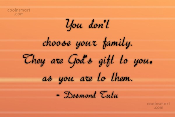 Family Quote: You don't choose your family. They are...