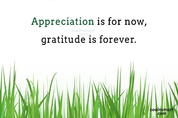 Thank You Quote: Appreciation is for now, gratitude is forever.