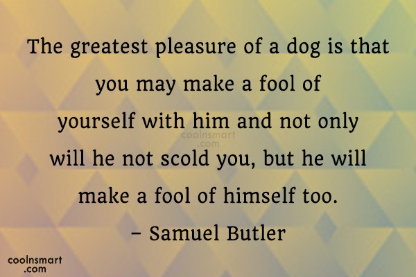 Quote: The greatest pleasure of a dog is...