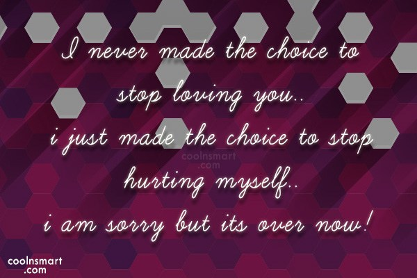 Sorry Quote: I never made the choice to stop...