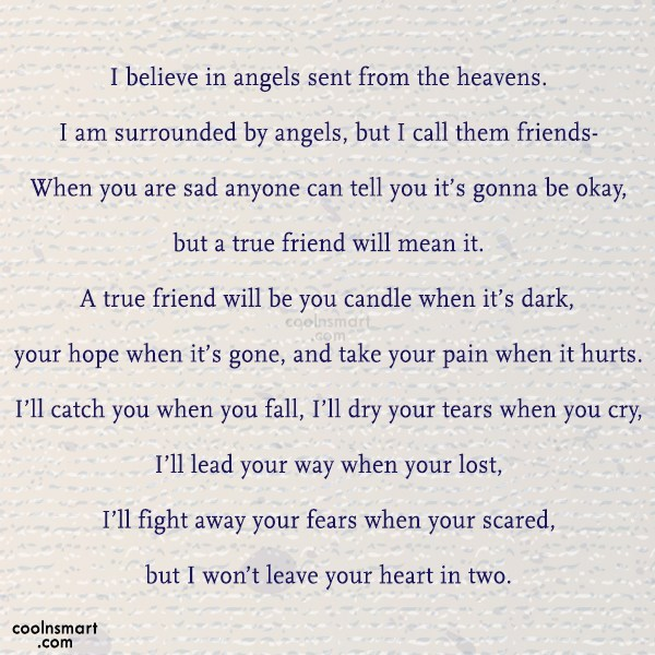 Best Friend Quote: I believe in angels sent from the...