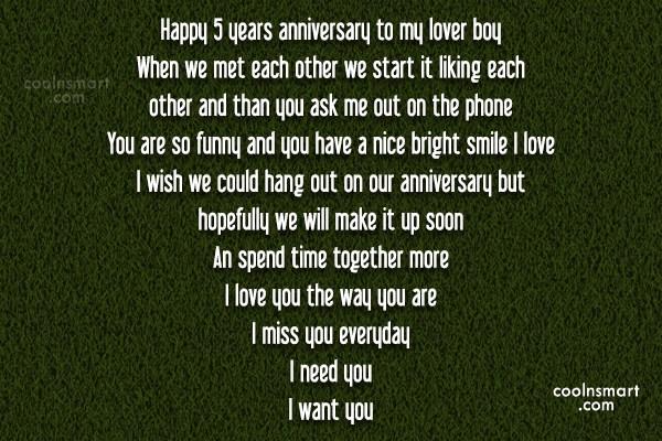 Anniversary Quote: Happy 5 years anniversary to my lover...