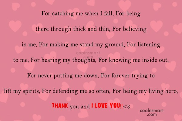 Thank You Quote: For catching me when I fall, For...