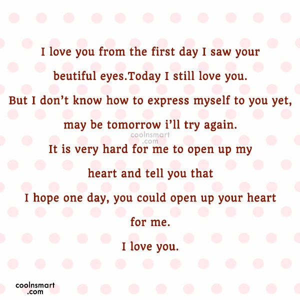 Missing You Quote: I love you from the first day...