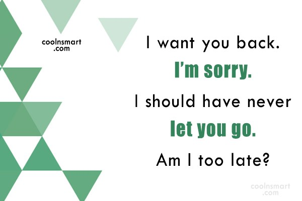 Sorry Quote: I want you back. I'm sorry. I...