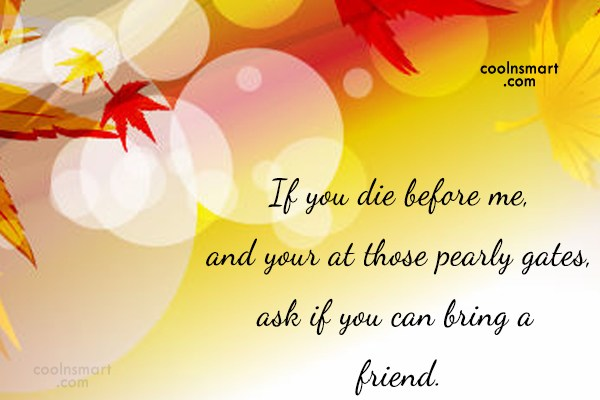Best Friend Quote: If you die before me, and your...