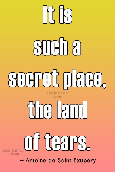 Crying Quote: It is such a secret place, the...