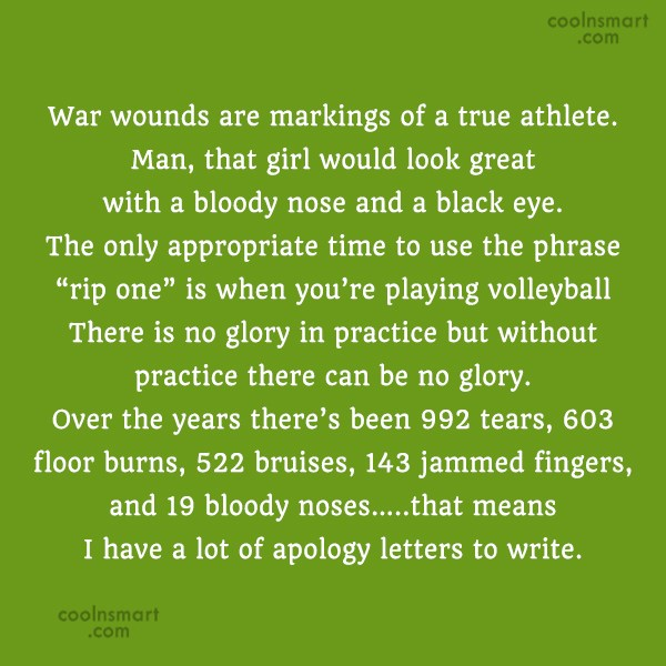 Volleyball Quote: War wounds are markings of a true...