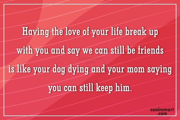 Quote: Having the love of your life break... - CoolNsmart.com