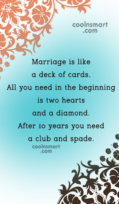 Funny Marriage Quotes Quote: Marriage is like a deck of cards....