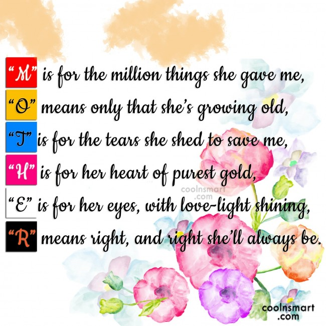 "Mother Quote: ""M"" is for the million things she..."