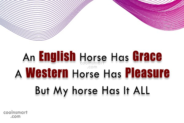Horse Quote: An English Horse Has Grace A Western...