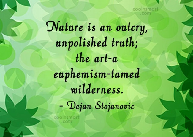 Quote: Nature is an outcry, unpolished truth; the...