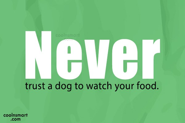 Dogs Quote: Never trust a dog to watch your...