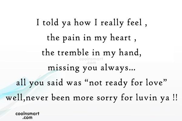 Sorry Quote: I told ya how I really feel...