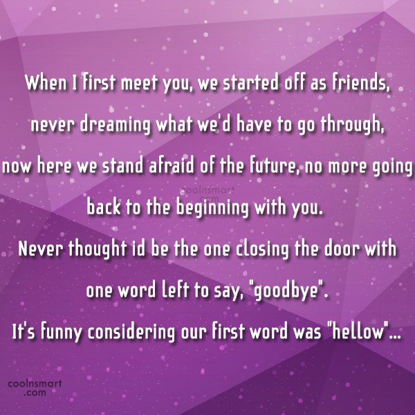 Goodbye Quote: When I first meet you, we started...