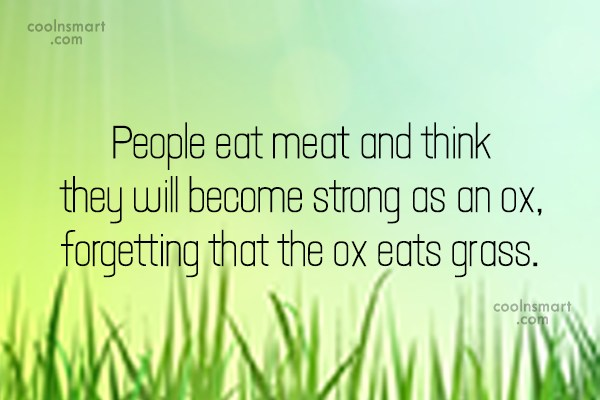 Vegetarianism Quote: People eat meat and think they will...