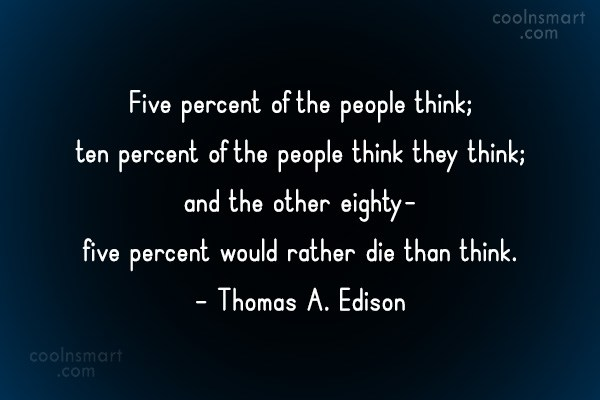 Thinking Quote: Five percent of the people think; ten...