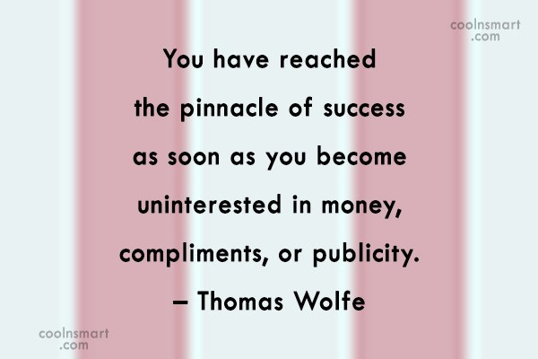 Success Quote: You have reached the pinnacle of success...
