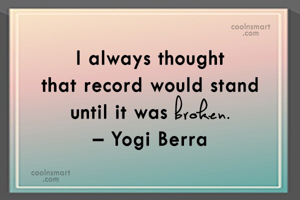 Quote: I always thought that record would stand...