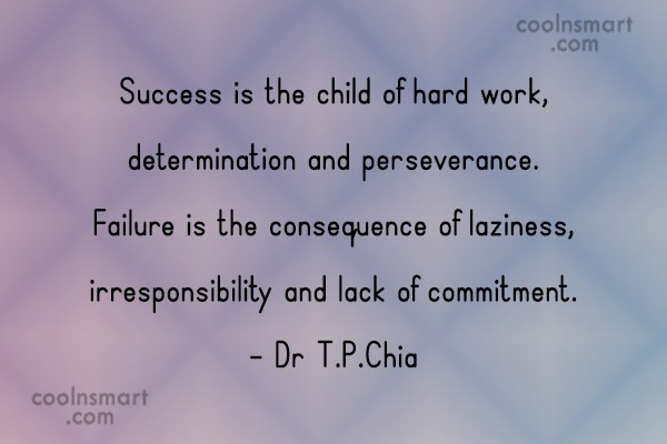 Hard Work Quote: Success is the child of hard work,...