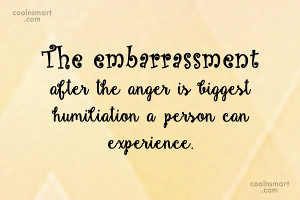 Anger Quote: The embarrassment after the anger is biggest...