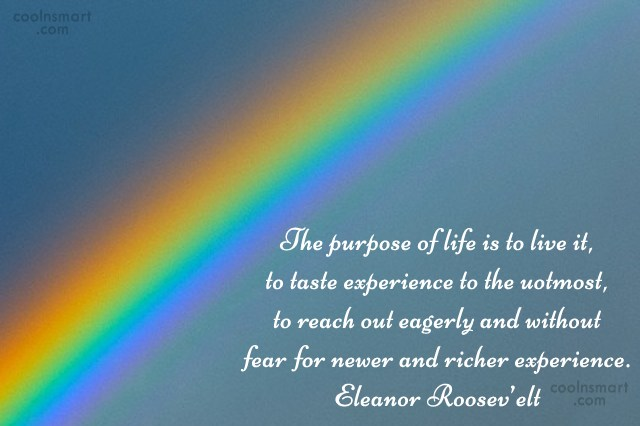 Life Quote: The purpose of life is to live...