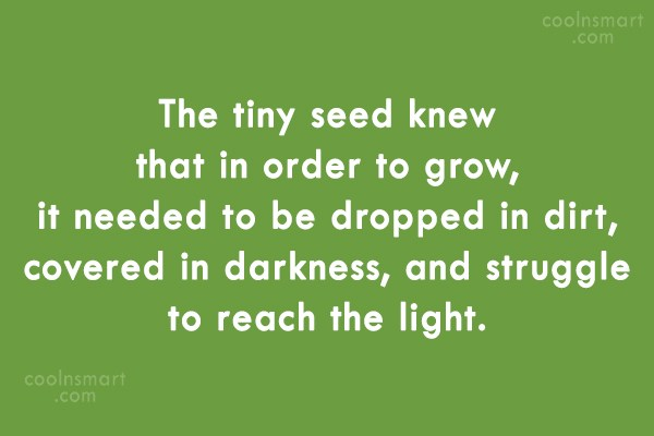 Adversity Quote: The tiny seed knew that in order...