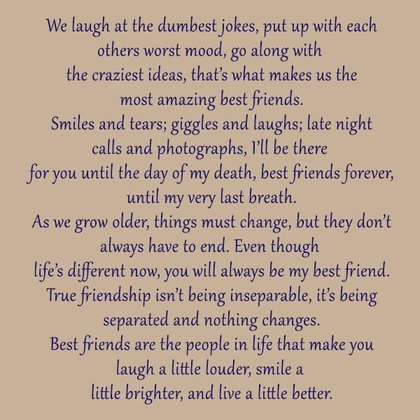 Best Friend Quote: We laugh at the dumbest jokes, put...