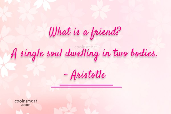 Friendship Quote: What is a friend? A single soul...