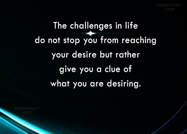 Challenge Quote: The challenges in life do not stop...