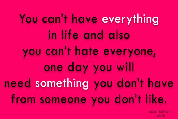 Hate Quote: You can't have everything in life and...