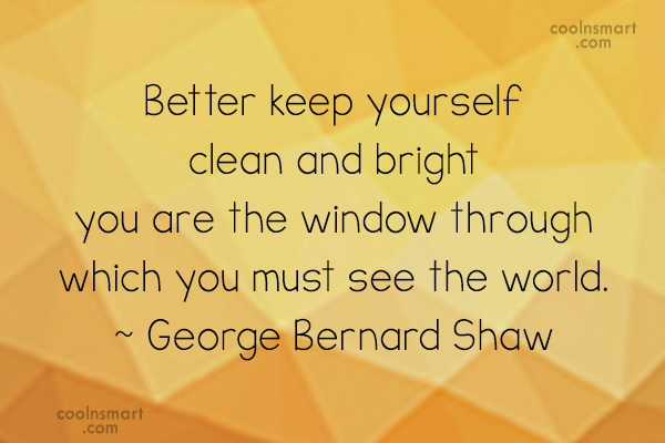 Perception Quote: Better keep yourself clean and bright; you...