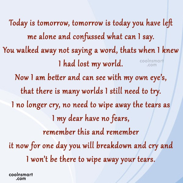 Missing You Quote: Today is tomorrow, tomorrow is today you...