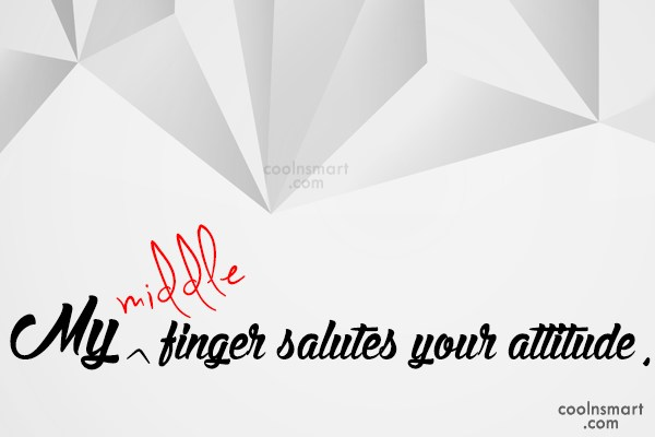 Attitude Quote: My middle finger salutes your attitude.